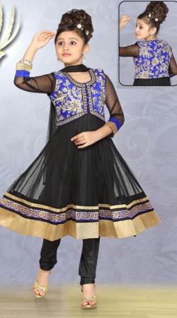 Black Net Blue Short Koti Style Readymade Kids Anarkali Suit DT701137
