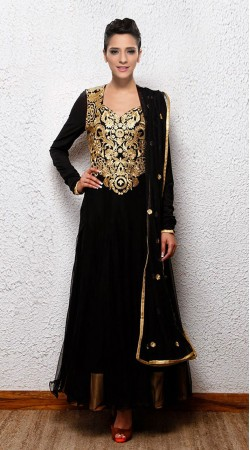 Black Net Golden Yoke Embroidered Ankle Length Anarkali Suit SUUDS27104