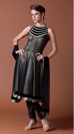 Black Net Knee Length Anarkali Suit SU9301