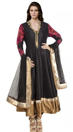 Black Dupion Silk Long Length Anarkali Suit SUUDS20002