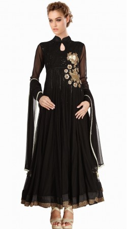 Black Net Resham Embroidered Yoke Indo Western Salwar Kameez SU22711
