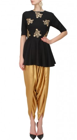 Black Plus Size Short Anarkali With Dhoti Pant SUUDS50130