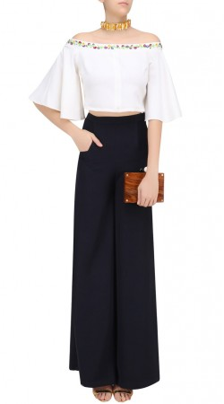 Black Silk Crop Top With Palazzo Pant SUUDL25225