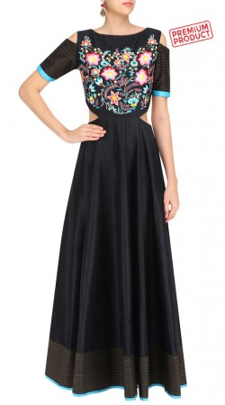Black Silk Cut Out Shoulder Floor Length Kameez SUMS29721