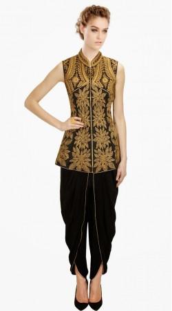Black Silk Floral Embroidered IndoWestern Salwar Kameez SUMA3409
