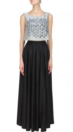Black Silk Plus Size Indowestern Dress SUUDL28227