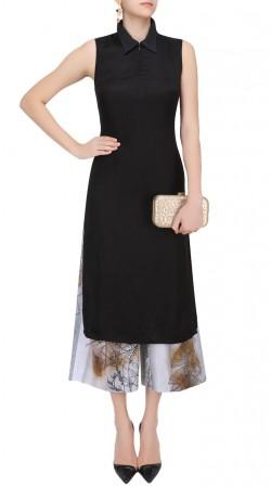 Black Silk Shirt Collar Tunic SUUDK22823