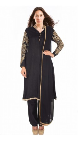 Black Silk Sleeves Embroidered Ready Made Salwar Kameez SUMS1012