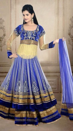 Blue And Cream Net Wedding Long Choli Lehenga With Dupatta DT900534