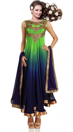 Blue And Green Pure Georgette Ankle Length Anarkali Suit SU6801