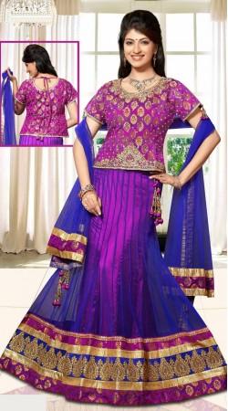 Blue And Purple Net Wedding Lehenga Choli With Dupatta DT90339