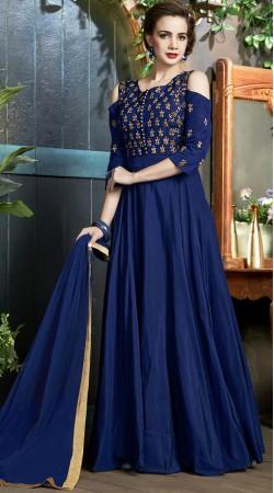 Blue Art Silk Cut Out Shoulder Anarkali Suit 2WV900318