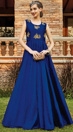 Blue Art Silk Indowestern Gown For Party WG88512