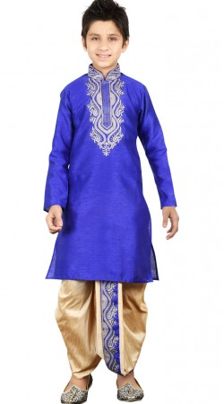 Blue Art Silk Kid Boy Embroidery Work Kurta With Dhoti Bottom GR24413