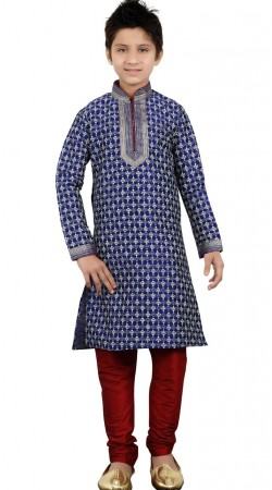 Blue Art Silk Kid Boy Kurta Pajama For Party GR21212