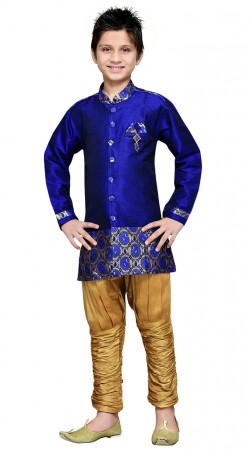 Blue Art Silk Kid Boy Sherwani With Jodhpuri Pant GR17414