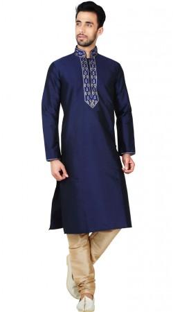 Blue Art Silk Kurta Pajama For Men GR147211