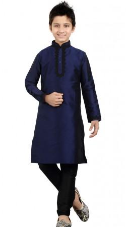 Blue Art Silk Party Wear Kid Boy Kurta Pajama GR22112
