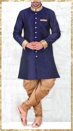 Blue Banarasi Silk Long Sleeves Kurta With Jodhpuri Pant 2MV1994921