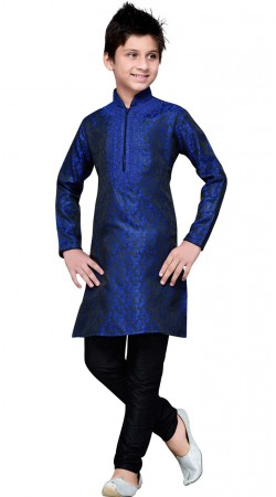 Blue Brocade Embroidery Work Kid Boy Kurta Pajama GR13310