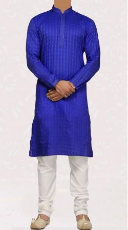 Blue Cotton Bandhgala Kurta Pajama For Men SISCW147