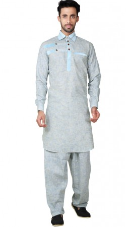 Blue Cotton Linen Pathani Kurta Pajama GR154619
