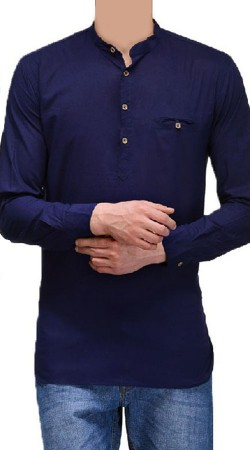 Blue Cotton Men Short Kurta With Long Sleeves BP1738