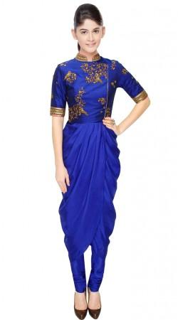 Blue Crepe sillk And Dupion Designer Salwar Kameez SUUDS31504