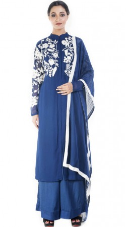 Blue Embroidery Work Kameez With Palazzo Pant SUUDS51730