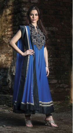 Blue Georgette Ankle Length Anarkali Suit SU9601