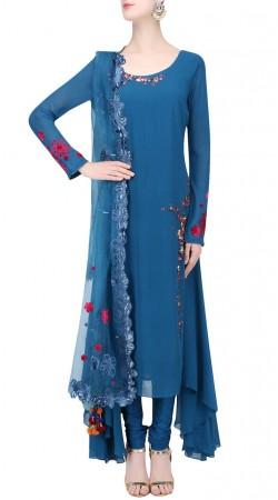 Blue Georgette Designer Handkercheif Hemline Kameez SUUDS40820