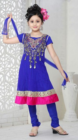Blue Georgette Readymade Kids Suit DT500729