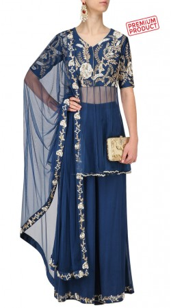 Blue Net Designer Palazzo With Short Anarkali SUMS31121