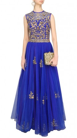 Blue Net Embroidery Work Floor Length Anarkali Suit SUMS35624