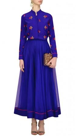 Blue Net Plain Skirt With Embroidery Work Shirt Style Choli SUUDL28527