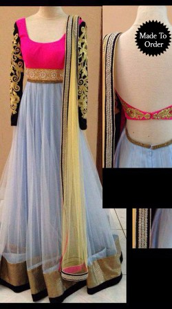 Blue Net Sleeves Embroidered Replica Floor Length Anarkali Suit SMDS00M