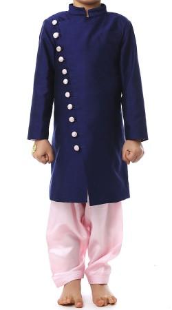 Blue Raw Silk Boy Kid Indowestern Style BP2338