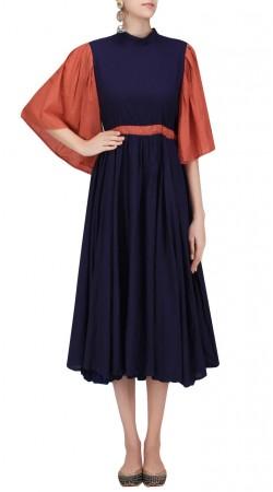 Blue Silk Bell Sleeves Long Kurti SUUDK23123