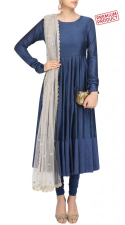 Blue Silk Long Length Anarkali Suit With Dupatta SUMS30921