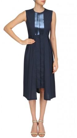 Blue Silk Long Length Stylish Tunic SUUDK22623