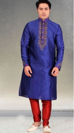 Blue Silk Men Kurta Pajama For Party BN2553411