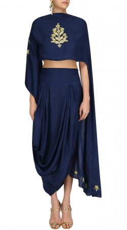 Blue Silk Plus Size IndoWestern Dress With Embroidery Work SUUDL29627