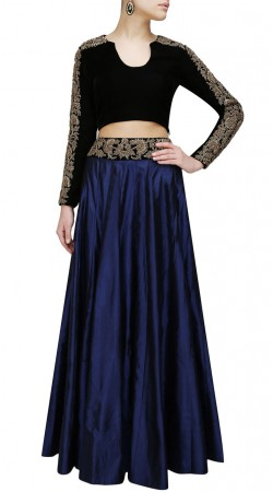 Blue Velvet Embroidery Work Crop Top Lehenga SUUDL26225