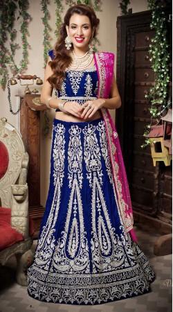 Blue Velvet Resham Embroidered Wedding Lehenga Choli LD002505