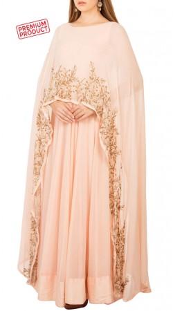 Blush Pink Georgette Sequins Floral Work Designer Cape Gown BP3834