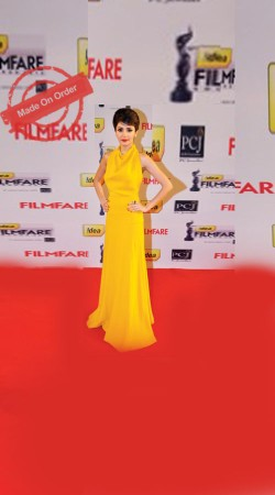 Bollywood Star Anushka Sharma Replica Backless Yellow Gown With Cowl Neck BP1420