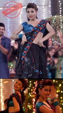 Bollywood Star Gauhar Khan Black Jhalla Wallah Song Replica Saree BP2920