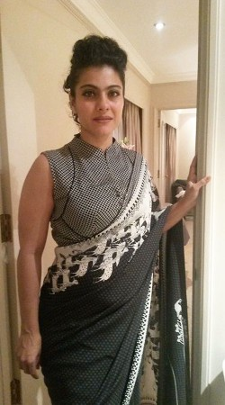 Bollywood Star Kajol In Grey Premium Fabric Designer Blouse For Saree BP3609