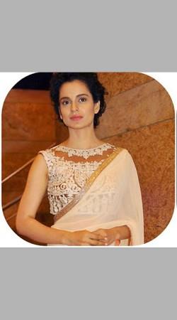 Bollywood Star Kangana Ranaut In Cream Designer Blouse For Saree BP4509