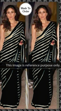 Bollywood Star Kareena Kapoor Black Georgette Saree With Blouse THS11701A